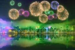 Schöne Feuerwerke in Hong Kong stockfoto