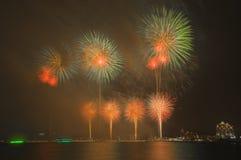 Schöne Feuerwerke im Himmel Stockfotografie