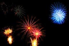 Schöne Feuerwerke und Scheine Stockfotos