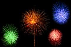 Schöne Feuerwerke und Scheine Stockbilder