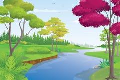 Schöne Fluss-Landschaft am Sommer-Tag, Vektor-Illustration