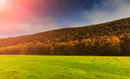 Schöne Frühlingsansicht Majestätische bunte Landschaft Drastischer Himmel Stockbilder