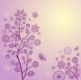 Schöne Frühlingskarte mit violettem Spitzen- Baum vektor abbildung