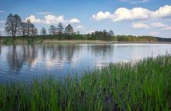 Schöne Frühlingslandschaft mit Fluss, Bäumen und blauem Himmel Stockfotografie