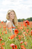 Schöne Frau auf dem Mohnblumegebiet Stockbild