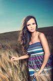 Schöne Frau auf dem Weizengebiet stockbild