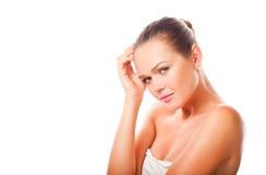 Schöne Frau auf Weiß Stockbild