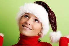 Schöne Frau auf Weihnachten Lizenzfreies Stockbild