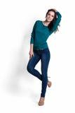 Schöne Frau in der grünen Bluse Lizenzfreies Stockfoto