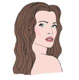 Schöne Frau der Mode mit dem langen gewellten Haar stock abbildung