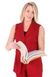 Schöne Frau in der roten kurzen Hülsen-Klage Lizenzfreie Stockfotos