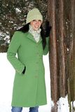 Schöne Frau in der Wintereinstellung stockfotografie