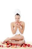 Badekurort-Frau lokalisiert auf Weiß Lizenzfreie Stockbilder