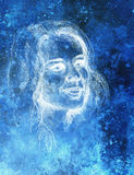 Schöne Frau des Portraits Bleistift-Zeichnung auf altem Papier Stockbild