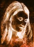 Schöne Frau des Portraits Bleistift-Zeichnung auf altem Papier Farbeffekt Lizenzfreie Stockfotos