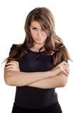 Schöne Frau, die verärgert und frustriert schaut stockbilder