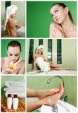 Schöne Frau in einem Badezimmer Stockbild