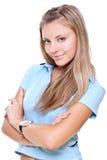 Schöne Frau in einem blauen T-Shirt Stockbilder