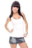 Schöne Frau in einem weißen T-Shirt lizenzfreies stockfoto
