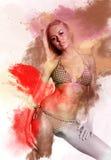 Schöne Frau im Bikini Stockfotos