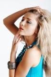 Schöne Frau im Blau Lizenzfreies Stockfoto