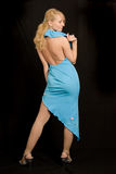 Schöne Frau im blauen Kleid. Lizenzfreies Stockfoto