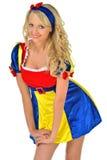 Schöne Frau im Karnevalsschnee-Weißkostüm. Stockfotos