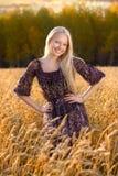 Schöne Frau im Kleid am Weizenfeld Stockfoto