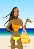 Schöne Frau im patriotischen Bikini Lizenzfreies Stockfoto