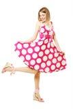 Schöne Frau im rosafarbenen Kleid Lizenzfreies Stockbild