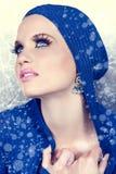 Schöne Frau im Schnee Lizenzfreie Stockfotos