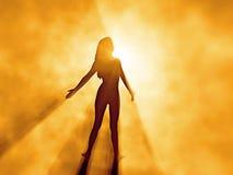 Schöne Frau im Sonnenaufgangnebel Stockbild
