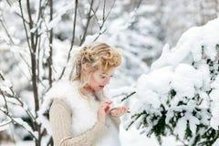 Schöne Frau im Winterwald Stockbilder