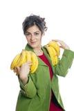 Schöne Frau mit Bananen Stockfotos