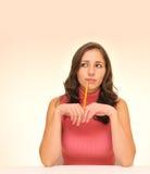 Schöne Frau mit Bleistift Stockfoto
