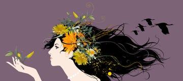 Schöne Frau mit Blumen Stockfotos