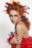 Schöne Frau mit dem Gesicht gestaltet in den Federn Stockbilder
