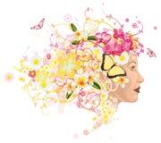 Schöne Frau mit dem Haar hergestellt von den Blumen vektor abbildung