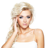 Schöne Frau mit dem langen blonden Haar Lizenzfreie Stockfotos