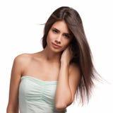 Schöne Frau mit dem langen braunen Haar Nahaufnahmeportrait eines Art und Weisebaumusters, das am Studio aufwirft Stockbilder