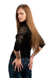 Schöne Frau mit dem langen geraden Haar Stockfotos