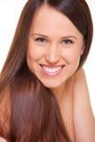 Schöne Frau mit dem langen glatten Haar Lizenzfreie Stockfotos
