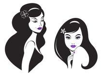 Schöne Frau mit dem schwarzen langen Haar Stockbilder