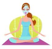 Schöne Frau mit der Gesichtsschablone, die Meditation tut vektor abbildung