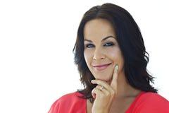 Schöne Frau mit einem überzeugten Lächeln Lizenzfreie Stockfotografie