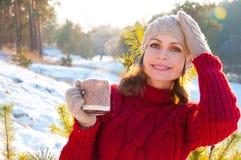 Schöne Frau mit einer Tasse Tee lizenzfreies stockbild