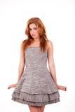 Schöne Frau mit elegantem Kleid lizenzfreies stockbild