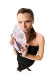Schöne Frau mit Geld Lizenzfreies Stockbild
