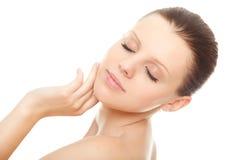Schöne Frau mit gesunder sauberer Haut Stockbild