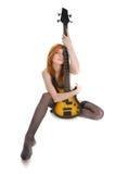 Schöne Frau mit Gitarre Stockfotografie